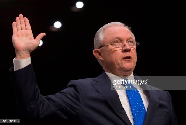 Attorney General Jeff Sessions is swornin prior to testifying during a Senate Judiciary Committee hearing on Capitol Hill in Washington DC on October...