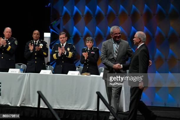 US Attorney General Jeff Sessions is welcomed on stage at the General Assembly of the International Association of Chiefs of Police conference in...