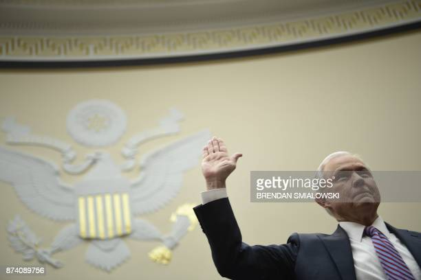 US Attorney General Jeff Sessions is worn in before testyfying at a House Judiciary Committee hearing on November 14 in Washington DC on oversight of...