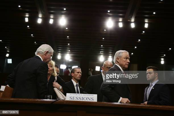 Attorney General Jeff Sessions leaves after a hearing before the Senate Intelligence Committee on June 13 2017 in Washington DC The nation's chief...