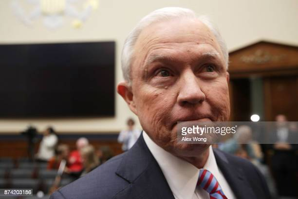S Attorney General Jeff Sessions leaves for a short break during a hearing before the House Judiciary Committee November 14 2017 in Washington DC...