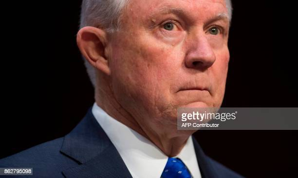 Attorney General Jeff Sessions looks on as he testifies during a Senate Judiciary Committee hearing on Capitol Hill in Washington DC on October 18...