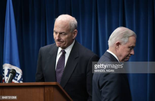 US Attorney General Jeff Sessions makes his way from the podium as Homeland Security Secretary John Kelly arrives to speak on visa travel at the US...