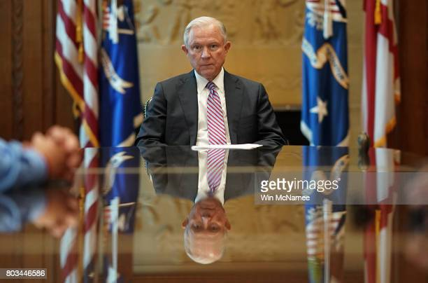 S Attorney General Jeff Sessions meets with families of victims killed by illegal immigrants in his office at the Justice Department June 29 2017 in...