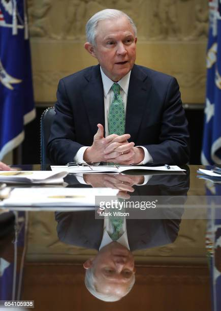 S Attorney General Jeff Sessions meets with Police Chiefs from major cities of the Chiefs of Police Association at the Justice Department March 16...