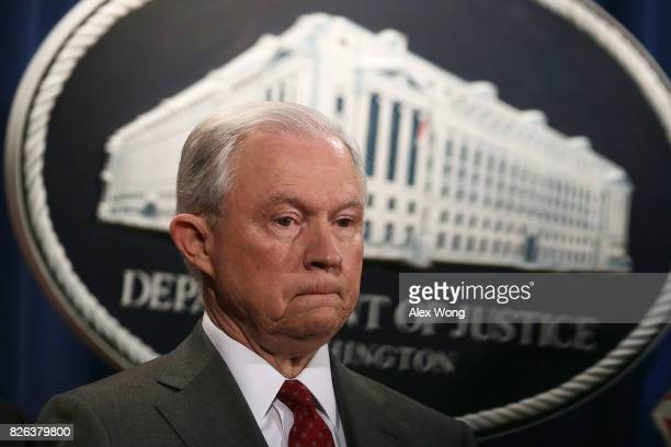 S Attorney General Jeff Sessions pauses during an event at the Justice Department August 4 2017 in Washington DC Sessions held the event to discuss...