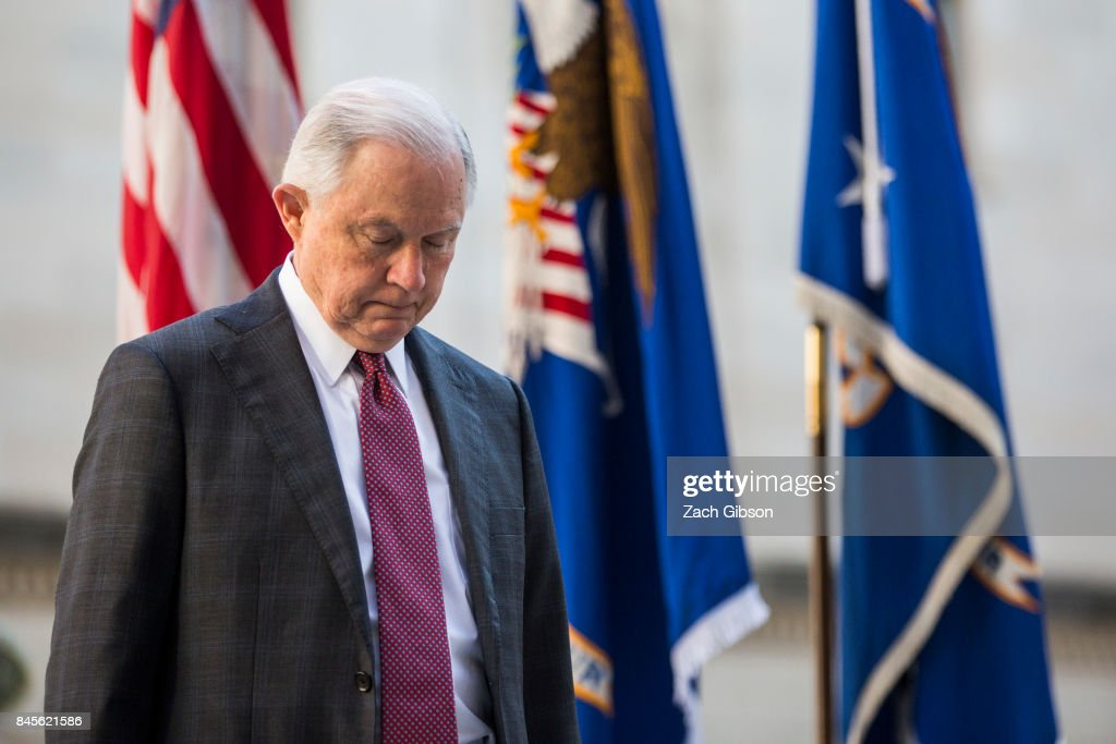 U.S. Attorney General Jeff Sessions pauses for a moment of silence during a vigil ceremony marking the September 11 terrorist attacks at the Department of Justice on September 11, 2017 in Washington, DC. Today marks the 16th anniversary of the attacks that killed almost 3,000 people and wounded another 6,000.