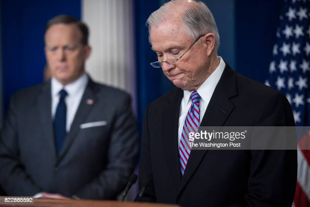 Attorney General Jeff Sessions right accompanied by White House press secretary Sean Spicer talks to reporters and members of the media during the...