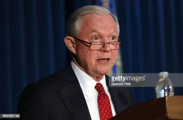 Attorney General Jeff Sessions speaks about domestic security in New York on November 2 2017 in New York City Sessions the nation's top law...