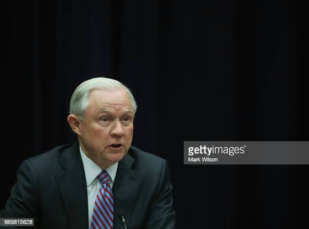 Attorney General Jeff Sessions speaks about organized gang violence at the Department of Justice April 18 2016 in Washington DC Sessions spoke during...