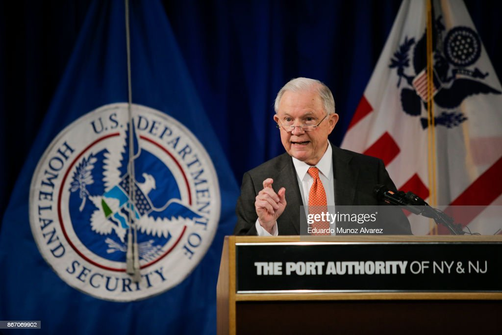 U.S. Attorney General Jeff Sessions speaks during a press conference about combatting the opioid crisis at JFK International Airport on October 27, 2017 in New York City. U.S. President Donald Trump announced that the federal government will fight the opioid crisis as a public health emergency, which has claimed more than 59,000 lives in 2016.