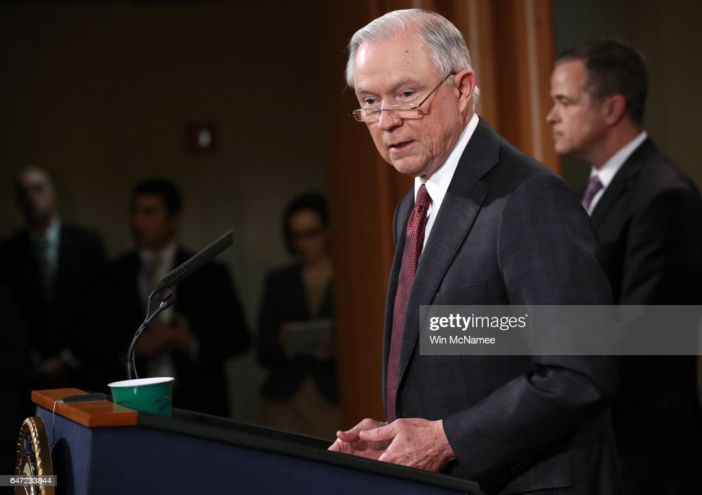 U.S. Attorney General Jeff Sessions speaks during a press conference at the Department of Justice on March 2, 2017 in Washington, DC. Sessions addressed the calls for him to recuse himself from Russia investigations after reports surfaced of meetings he had with the Russian ambassador during the U.S. presidential campaign.