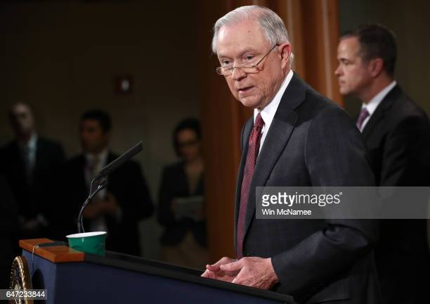 S Attorney General Jeff Sessions speaks during a press conference at the Department of Justice on March 2 2017 in Washington DC Sessions addressed...
