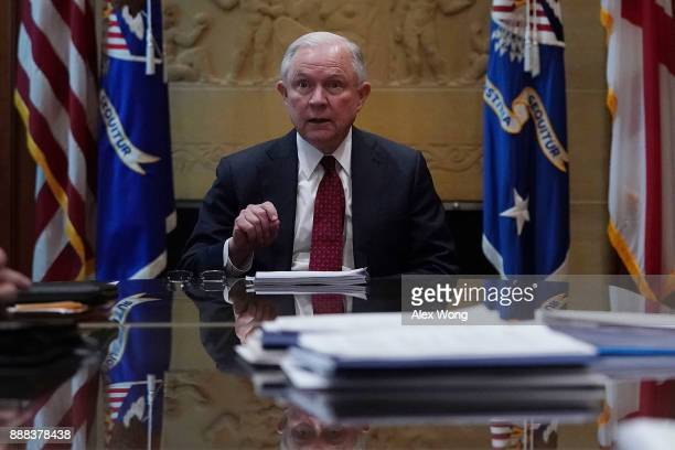 S Attorney General Jeff Sessions speaks during a roundtable discussion December 8 2017 at the Justice Department in Washington DC Sessions hosted a...