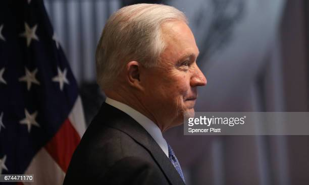 Attorney General Jeff Sessions speaks to local state and federal law enforcement about a recent spate of gang related killings on April 28 2017 in...