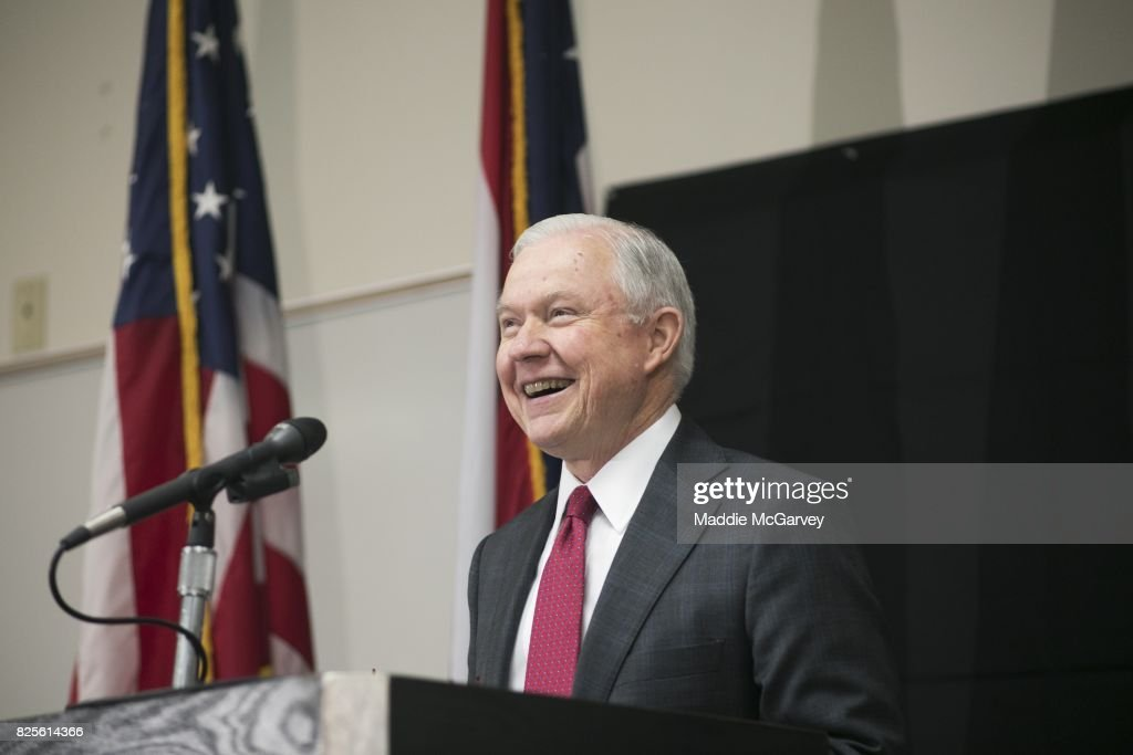 Attorney General Jeff Sessions talks about the opioid epidemic at The Columbus Police Academy on August 2, 2017 in Columbus, Ohio. Since taking office, Sessions has taken steps to advance a more aggressive, hard line in federal drug policy.