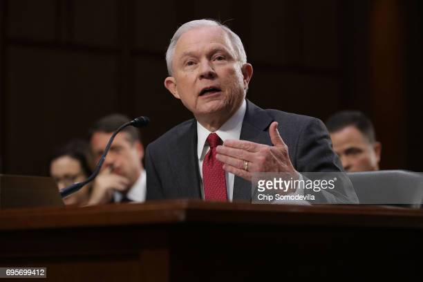 S Attorney General Jeff Sessions testifies before the Senate Intelligence Committee about Russian interference in the 2016 presidential election...