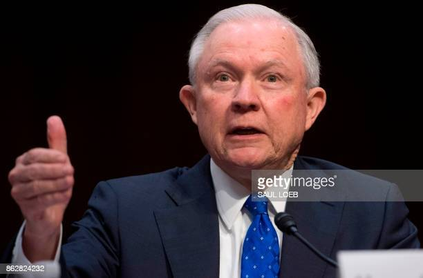 Attorney General Jeff Sessions testifies during a Senate Judiciary Committee hearing on Capitol Hill in Washington DC on October 18 2017 / AFP PHOTO...