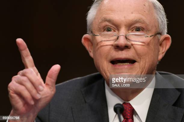 Attorney General Jeff Sessions testifies during a US Senate Select Committee on Intelligence hearing on Capitol Hill in Washington DC June 13 2017 /...