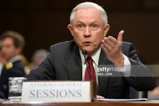 Attorney General Jeff Sessions testifies during a US Senate Select Committee on Intelligence hearing on Capitol Hill in Washington DC June 13 2017 US...