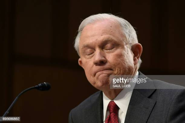 TOPSHOT Attorney General Jeff Sessions testifies during a US Senate Select Committee on Intelligence hearing on Capitol Hill in Washington DC June 13...