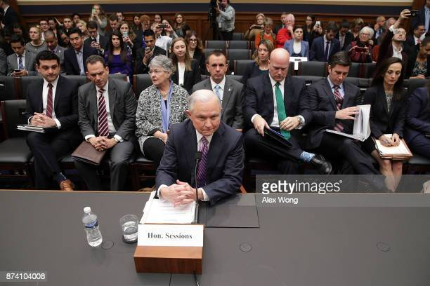 S Attorney General Jeff Sessions waits for the beginning of a hearing before the House Judiciary Committee November 14 2017 on Capitol Hill in...