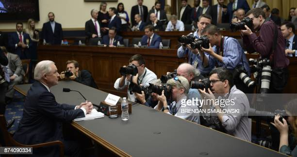 US Attorney General Jeff Sessions waits to testify before a House Judiciary Committee hearing on November 14 in Washington DC on oversight of the US...