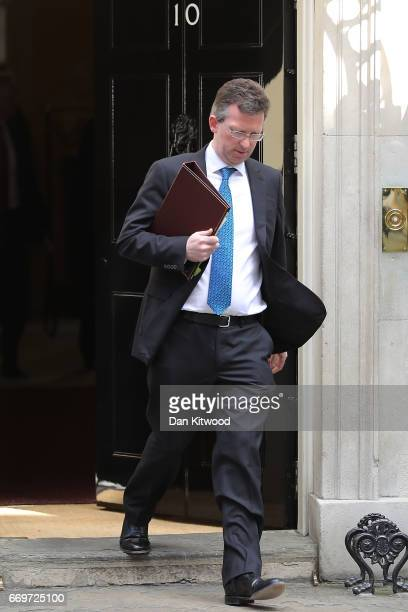 Attorney General Jeremy Wright leaves 10 Downing Street after Prime Minister Theresa May announced a General Election on April 18 2017 in London...