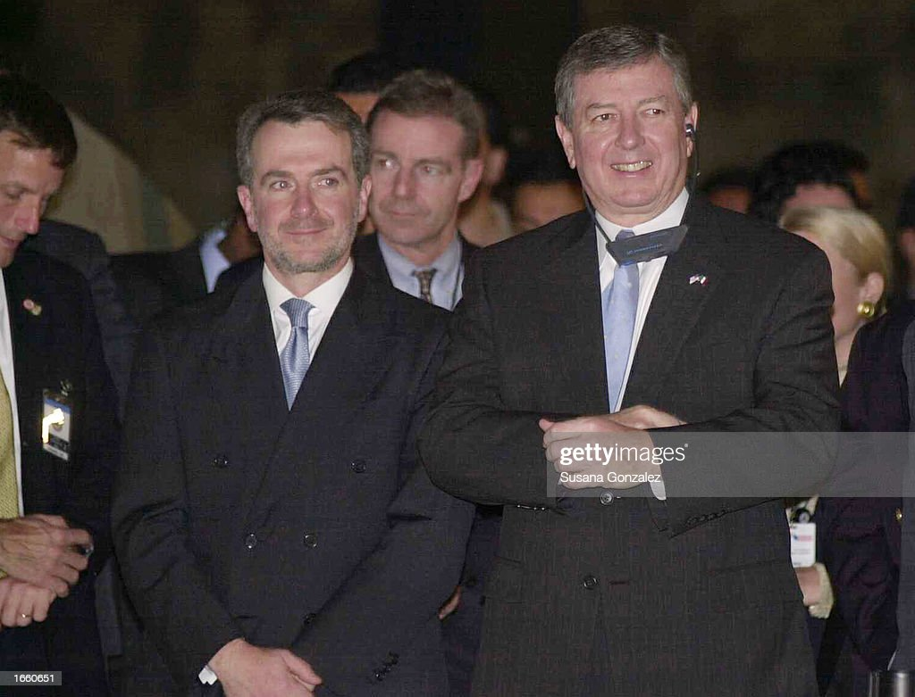 S Attorney General John Ashcroft and Mexican Interior Minister Santiago Creel visit the Anthropology Museum November 25 2002 in Mexico City Mexico...