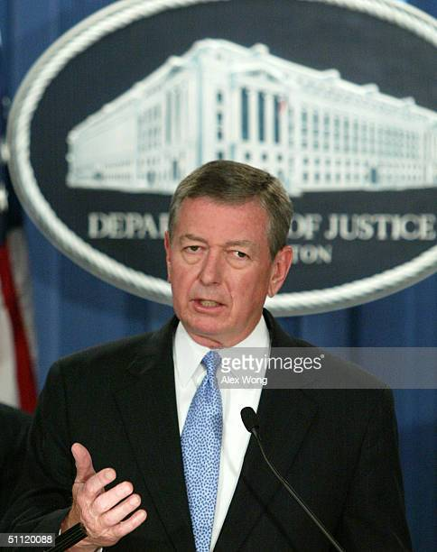S Attorney General John Ashcroft speaks during a news conference at the Justice Department July 27 2004 in Washington DC Ashcroft announced that the...