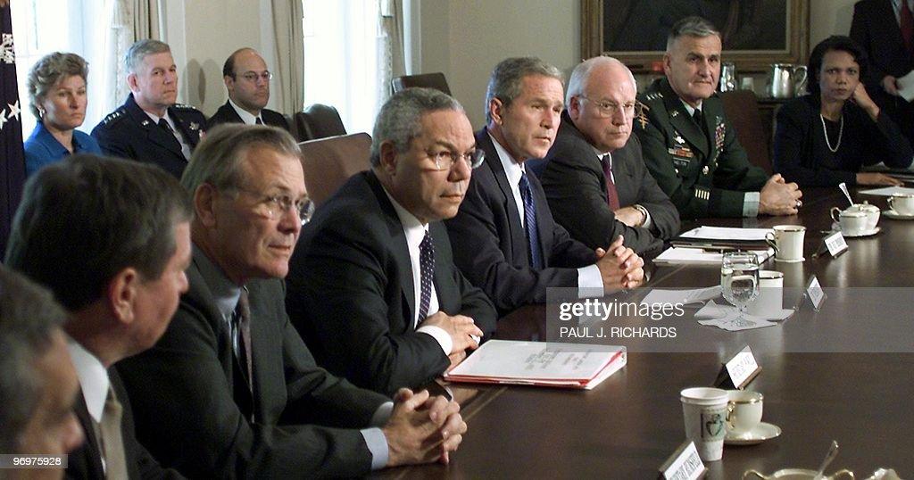 US Attorney General John Ashcroft US Secretary of Defense Donald Rumsfeld US Secretary of State Colin Powel US President George W Bush US...