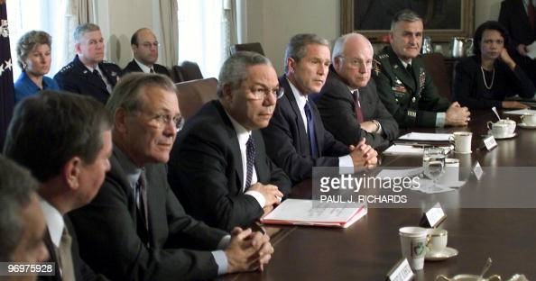 US Attorney General John Ashcroft US Secretary of Defense Donald Rumsfeld US Secretary of State Colin Powel US President George W Bush US...