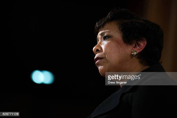 S Attorney General Loretta Lynch announces federal action related to North Carolina at the US Department of Justice May 9 in Washington DC Led by...
