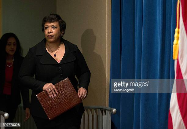 S Attorney General Loretta Lynch arrives to announce federal action related to North Carolina at the US Department of Justice May 9 in Washington DC...