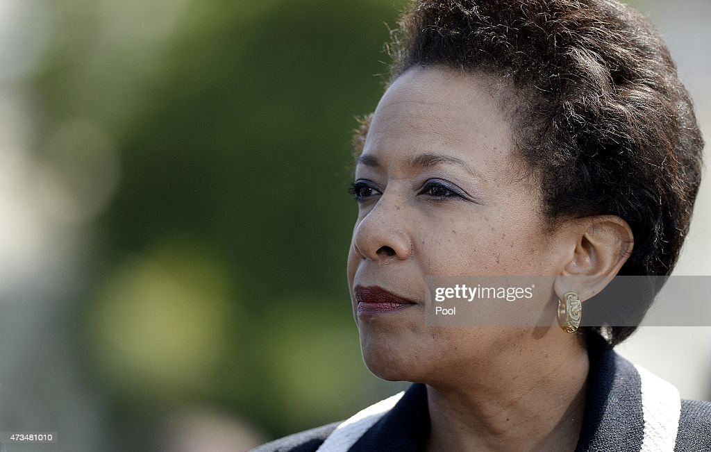 U.S. Attorney General Loretta Lynch attends the National Peace Officers Memorial Service on May 15, 2015 at the US Capitol in Washington, DC. - attorney-general-loretta-lynch-attends-the-national-peace-officers-picture-id473481010