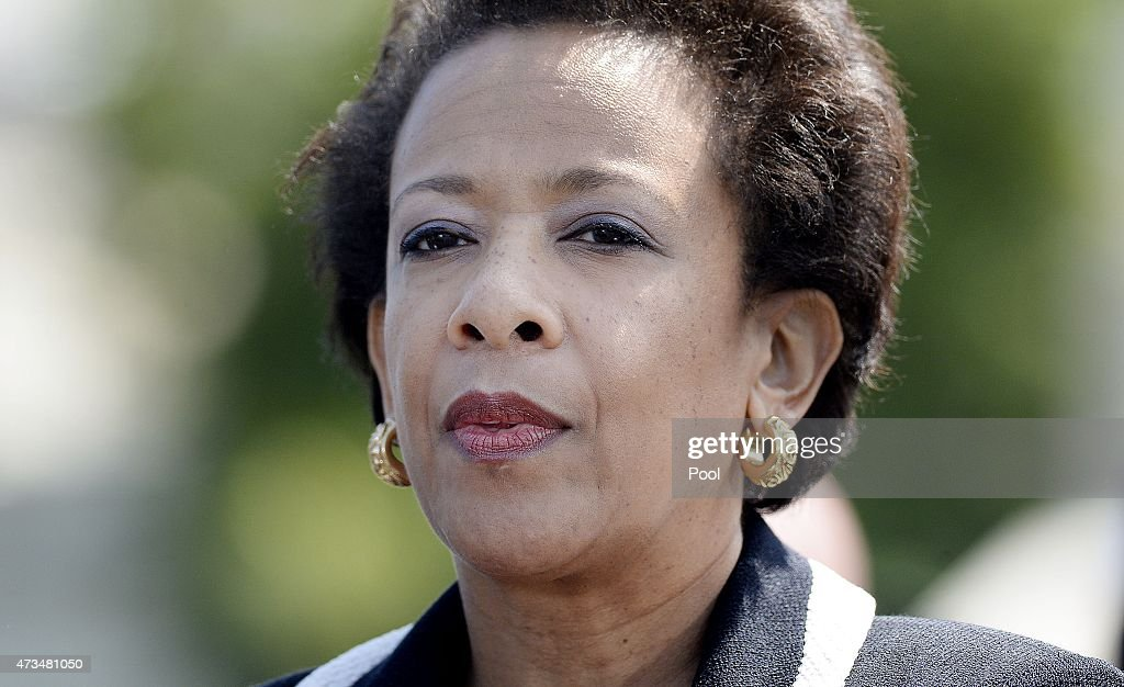 U.S. Attorney General Loretta Lynch attends the National Peace Officers Memorial Service on May 15, 2015 at the US Capitol in Washington, DC. - attorney-general-loretta-lynch-attends-the-national-peace-officers-picture-id473481050