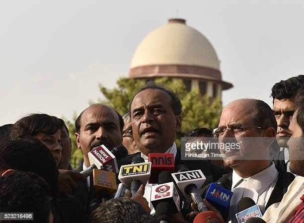 Attorney General Mukul Rohatgi and senior advocate Nalin Kohli briefing the media persons about the decision on Uttrakhand Government at Supreme...