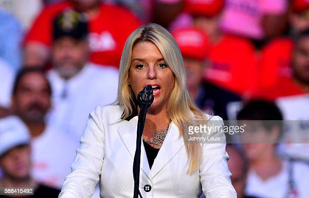 Attorney General of Florida Pamela Jo 'Pam' Bondi speaks during Donald J Trump campaign event at the BBT Center on August 10 2016 in Fort Lauderdale...