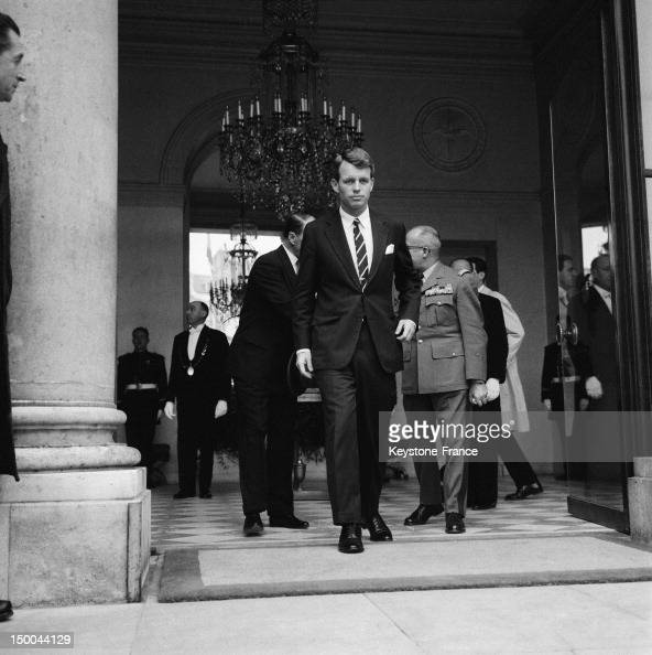 Attorney General Robert Kennedy at the Elysee Palace after a meeting with President Charles De Gaulle on February 27 1962 in Paris France