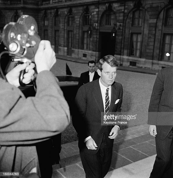 Attorney General Robert Kennedy at the Elysee Palace to meet President Charles De Gaulle Paris February 27 1962