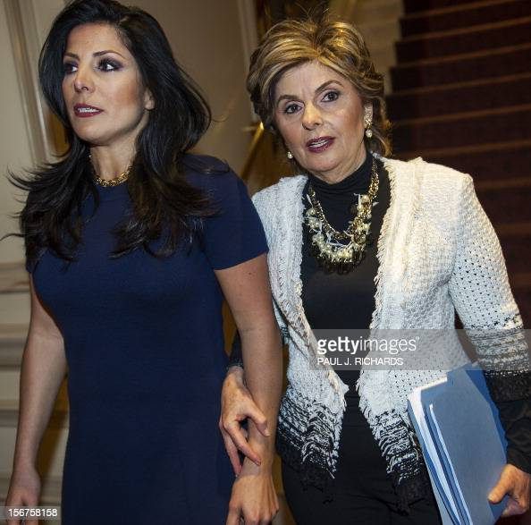 Attorney Gloria Allred and client Natalie Khawam(L), walk ...