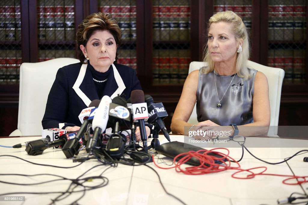 Attorney Gloria Allred (L) and client speak regarding Roman Polanski during press conference on August 15, 2017 in Los Angeles, California.