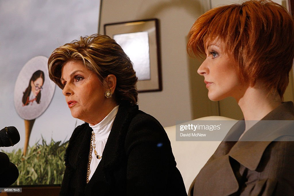 Attorney Gloria Allred (L) and former adult film actress Veronica Siwik-Daniels (aka Joslyn James), who claims to have had a long-term intimate relationship with golf icon Tiger Woods, appear next to a picture of a golf ball bearing the image of Veronica at a press conference at the offices of attorney Gloria Allred on February 3, 2010 in Los Angeles, California. Allred and Siwik-Daniels are calling for the end of the production of golf balls bearing an image of Siwik in the product series, 'Tail of the Tiger - The Mistress Collection'. Allred argues that putting the face of a woman on a ball which golfers hit with full force could result in marks on the image that might resemble bruises and may lead to inappropriate jokes about hitting women. James says that she loved Woods and had reason to believe that he loved her. She has been in seclusion and has not talked to the press until now.