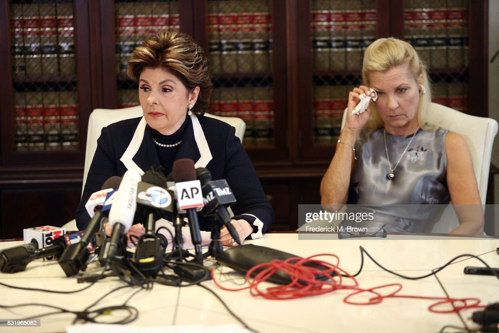 Attorney Gloria Allred and her client Robin during press conference on August 15, 2017 in Los Angeles, California.