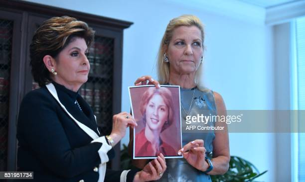 Attorney Gloria Allred and Robin another accuser of Roman Polanski who alleges she was 16 years old when sexually victimized by Mr Polanski display a...