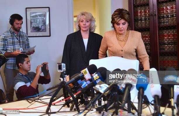 Attorney Gloria Allred arrives with Heather Kerr for a press conference in Los Angeles California on October 20 Kerr alleging that she was sexually...