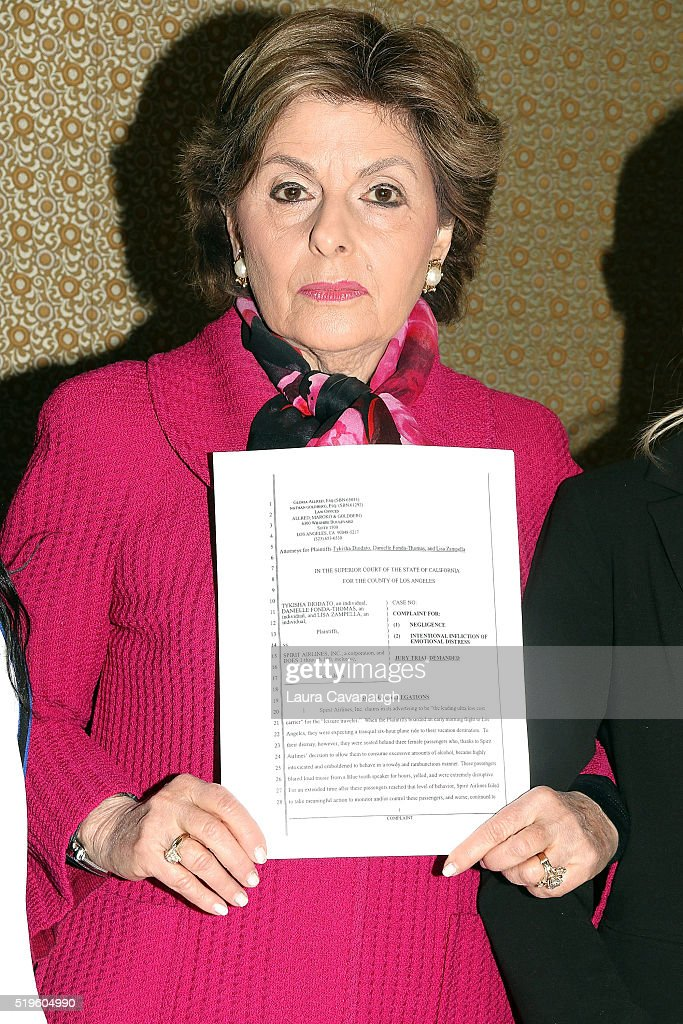 Attorney <a gi-track='captionPersonalityLinkClicked' href=/galleries/search?phrase=Gloria+Allred&family=editorial&specificpeople=213999 ng-click='$event.stopPropagation()'>Gloria Allred</a> attends a press conference to announce the filing of a lawsuit against Spirit Airlines at the Omni Berkshire Place Hotel on April 7, 2016 in New York City.