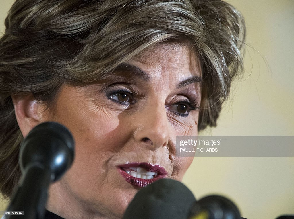 Attorney Gloria Allred conducts a press conference with her client Natalie Khawam (not in picture) on November 20, 2012, at the Ritz-Carlton hotel in Washington, DC. Khawam is the twin sister of Tampa socialite Jill Kelley and wanted to correct misconceptions about her sister and her relationship with General David Petraeus and his wife Holly. AFP Photo/Paul J. Richards