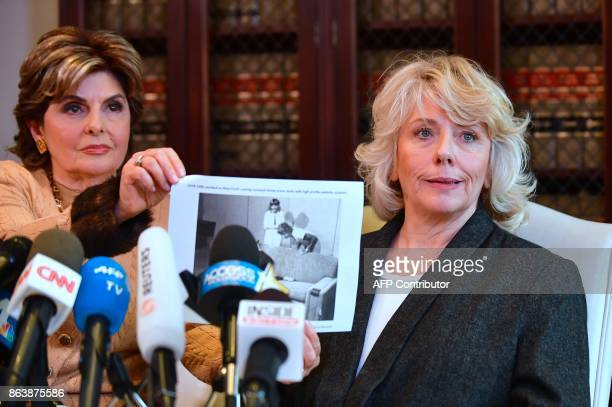 Attorney Gloria Allred displays a photograph of Heather Kerr when she young during a press conference in Los Angeles California on October 20...