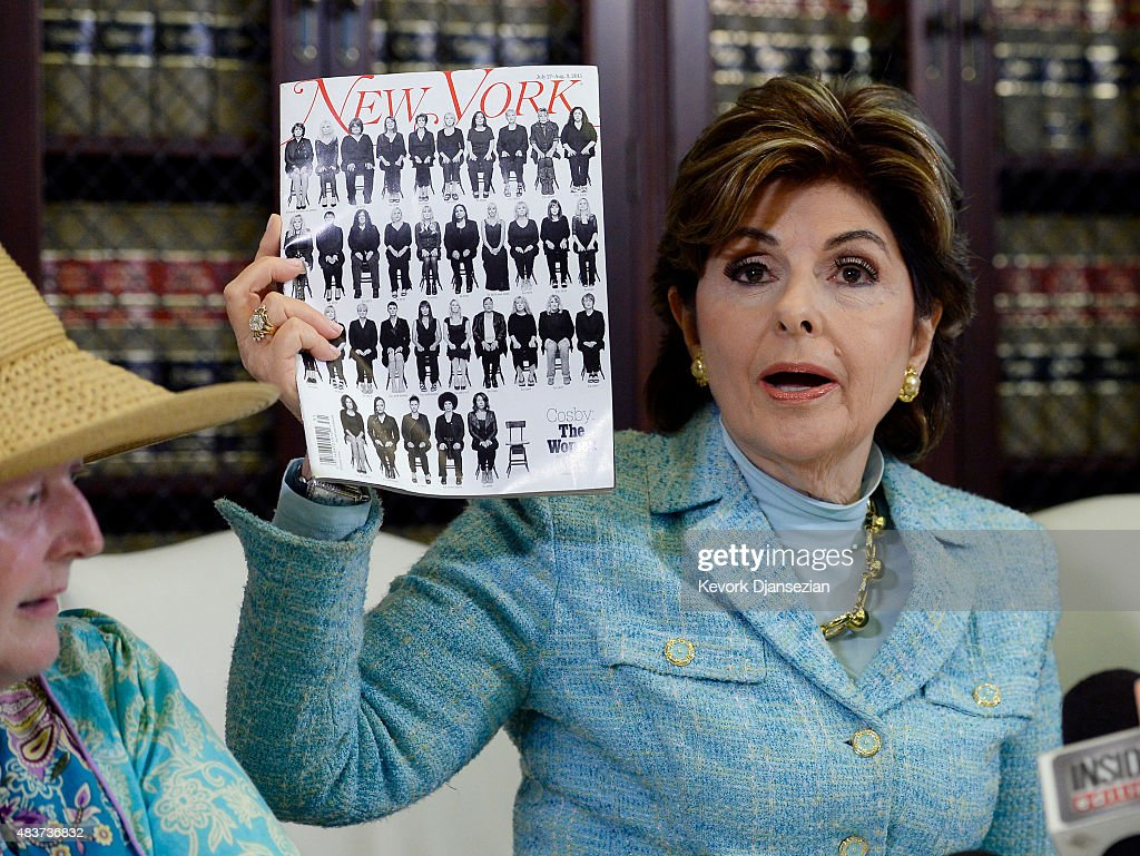 Attorney <a gi-track='captionPersonalityLinkClicked' href=/galleries/search?phrase=Gloria+Allred&family=editorial&specificpeople=213999 ng-click='$event.stopPropagation()'>Gloria Allred</a> (R) holds a copy of a recent New Yorker magazine showing alleged sexual assault and harassment victims of comedian Bill Cosby on the cover, as she speaks during a news conference with three new alleged sexual assault victims of comedian Bill Cosby, August 12, 2015, in Los Angeles, California. Cosby has been accused of sexual assault by over 30 women.